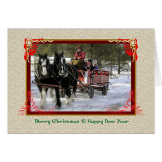 Winter Sleigh Ride, Merry Christmas, Happy New Yea Greeting Card