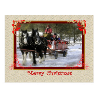 Winter Sleigh Ride, Merry Christmas Postcard