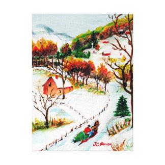 Winter Sleigh Ride Mountain Christmas Watercolor Canvas Print