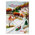 Winter Sleigh Ride Mountain Christmas Watercolor Card