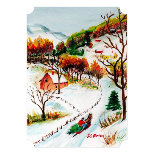 Winter Sleigh Ride Mountain Christmas Watercolor Card
