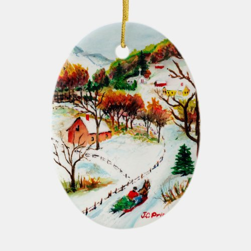Winter Sleigh Ride Mountain Christmas Watercolor Ceramic Ornament