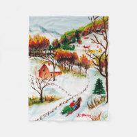 Winter Sleigh Ride Mountain Christmas Watercolor Fleece Blanket