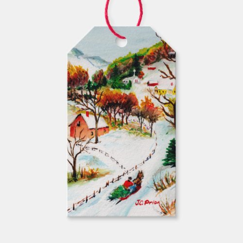Winter Sleigh Ride Mountain Christmas Watercolor Gift Tags
