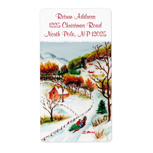 Winter Sleigh Ride Mountain Christmas Watercolor Label
