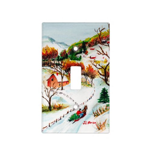 Winter Sleigh Ride Mountain Christmas Watercolor Light Switch Cover