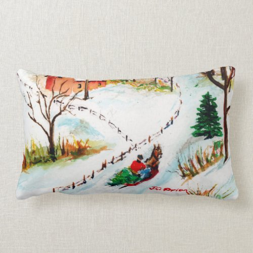 Winter Sleigh Ride Mountain Christmas Watercolor Lumbar Pillow