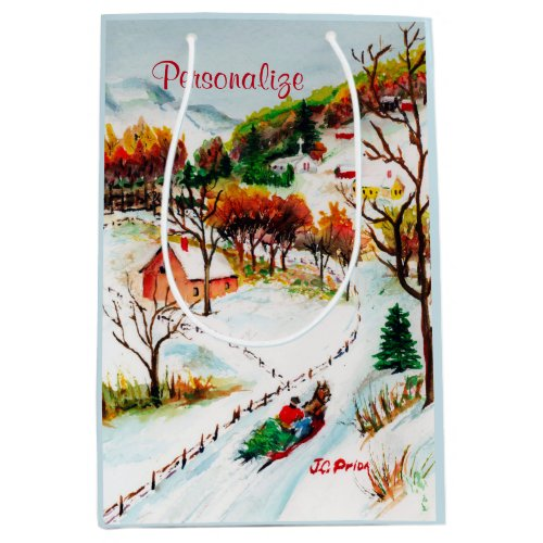 Winter Sleigh Ride Mountain Christmas Watercolor Medium Gift Bag