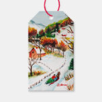 Winter Sleigh Ride Mountain Christmas Watercolor Pack Of Gift Tags