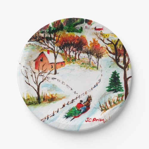 Winter Sleigh Ride Mountain Christmas Watercolor Paper Plate