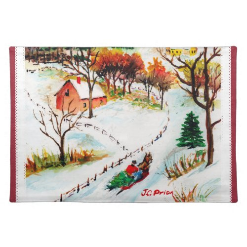Winter Sleigh Ride Mountain Christmas Watercolor Placemat