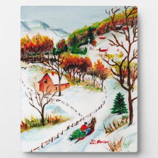 Winter Sleigh Ride Mountain Christmas Watercolor Photo Plaque