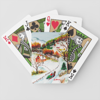 Winter Sleigh Ride Mountain Christmas Watercolor Bicycle Playing Cards