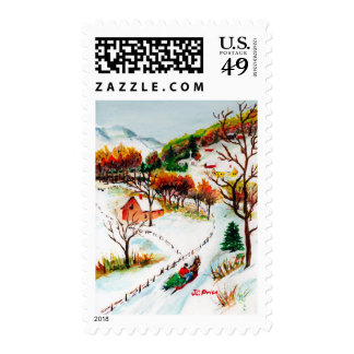 Winter Sleigh Ride Mountain Christmas Watercolor Postage Stamp