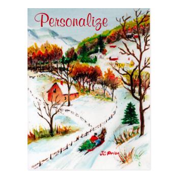 Winter Sleigh Ride Mountain Christmas Watercolor Postcard