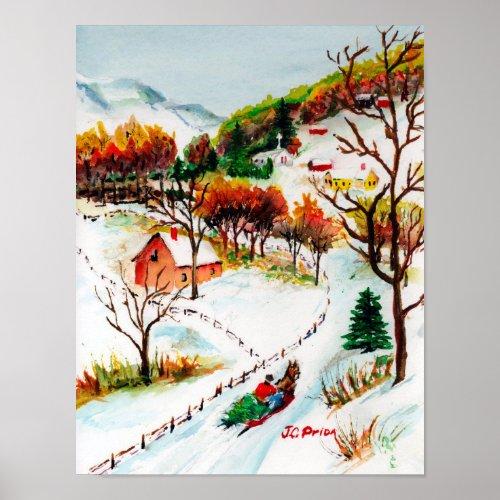 Winter Sleigh Ride Mountain Christmas Watercolor Poster