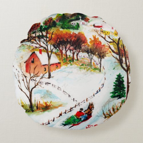 Winter Sleigh Ride Mountain Christmas Watercolor Round Pillow