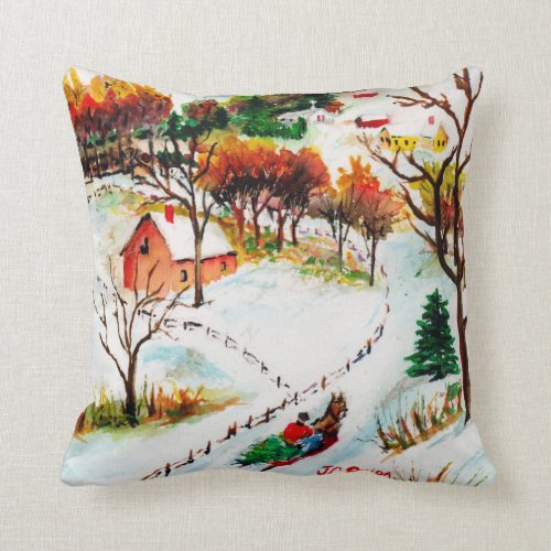Winter Sleigh Ride Mountain Christmas Watercolor Throw Pillow