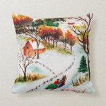 Winter Sleigh Ride Mountain Christmas Watercolor Throw Pillow