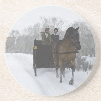 Winter Sleigh Ride Sandstone Coaster
