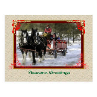 Winter Sleigh Ride, Seasons Greetings Postcard