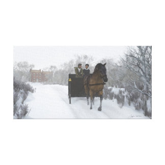 Winter Sleigh Ride Wrapped Canvas Canvas Prints