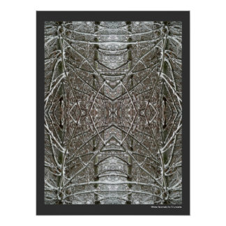 Winter Snow Abstract Art Symmetrical Design Poster