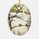 Winter Snow and Cold Double-Sided Oval Ceramic Christmas Ornament