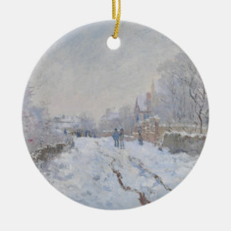 Winter Snow at Argeteuil Double-Sided Ceramic Round Christmas Ornament
