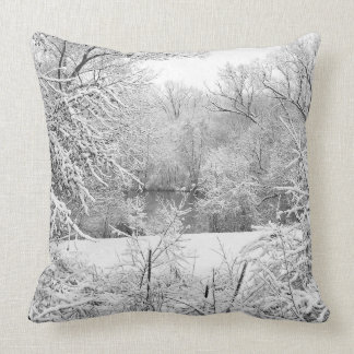 Winter Snow At Huron River Throw Pillow