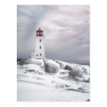 Winter Snow at Peggys Cove Halifax Nova Scotia Postcard