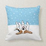 Winter Snow Beagle - A Happy Dog Design Throw Pillows