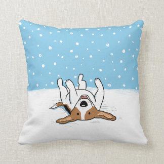 Winter Snow Beagle - A Happy Dog Design Throw Pillow