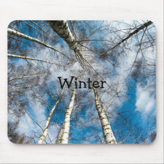 Winter Snow Birch Trees Nature Blue Skies Mouse Pad