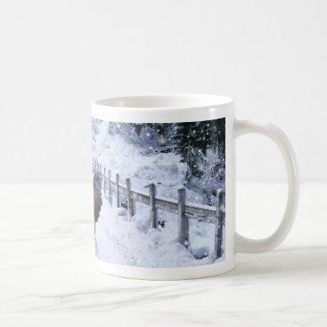 Coffee Themed Winter Snow Black Copper Marans Coffee Mug