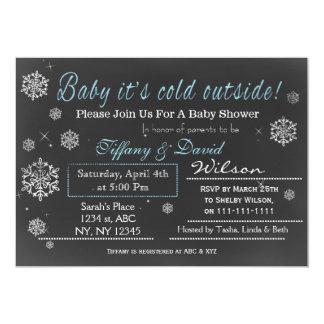 Winter Snow blue Couple's Baby shower Invitation