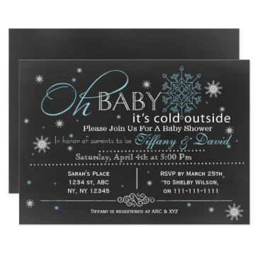 Winter Snow blue Couple's Baby shower Invitation