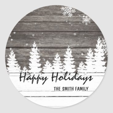 Christmas Themed Winter snow brown wood Christmas Holiday Classic Round Sticker