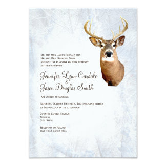 "Winter Snow Camo Hunting Deer Wedding Invitations 4.5"" X 6.25"" Invitation Card"
