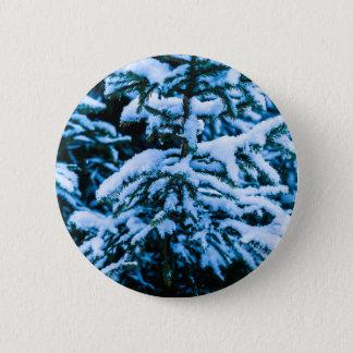 Winter Snow Christmas Tree Button