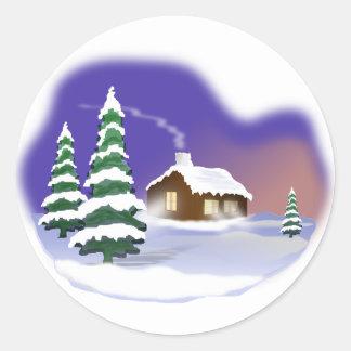 Winter snow classic round sticker