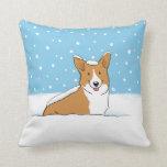 Winter Snow Corgi - A Happy Dog Design Pillows