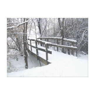 Winter Snow Covered Bridge - Pueblo Colorado Canvas Print