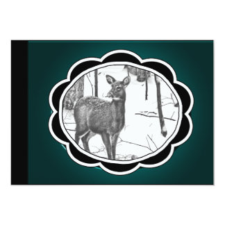 Winter Snow Covered Deer 5x7 Paper Invitation Card