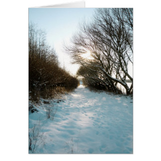 Winter Snow Covered English Countryside Path Greeting Card