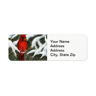 Winter snow covered trees cardinal red bird label