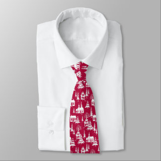 Winter snow-covered village on red background neck tie