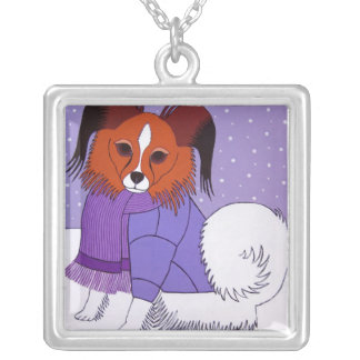 Winter Snow Dog Papillon Necklace