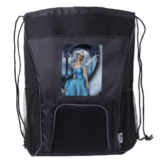 Winter Snow Fairy Drawstring Backpack