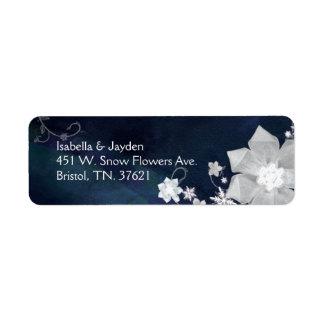 Winter Snow Flowers Wedding Return Address Labels